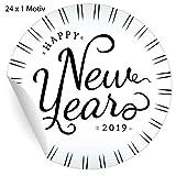 24 elegante Silvester Aufkleber im Retro Style: Happy New Year 2019, schwarz, MATTE universal Papieraufkleber für Weihnachts Geschenke, Etiketten für Tischdeko, Pakete, Briefe und mehr (ø 45mm