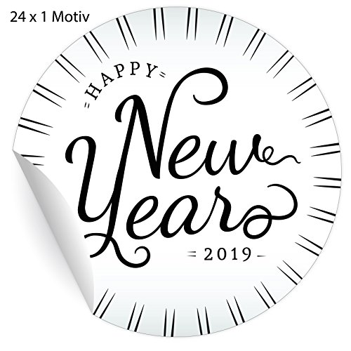 (24 elegante Silvester Aufkleber im Retro Style: Happy New Year 2019, schwarz, MATTE universal Papieraufkleber für Weihnachts Geschenke, Etiketten für Tischdeko, Pakete, Briefe und mehr (ø 45mm)