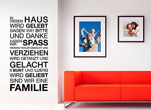 Grandora W943 Wandtattoo Spruch In diesem Haus wird... schwarz (BxH) 58 x 113 cm