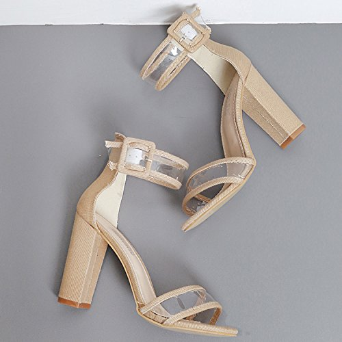 Oasap Women's Open Toe High Chunky Heels Ankle Strap Sandals Apricot