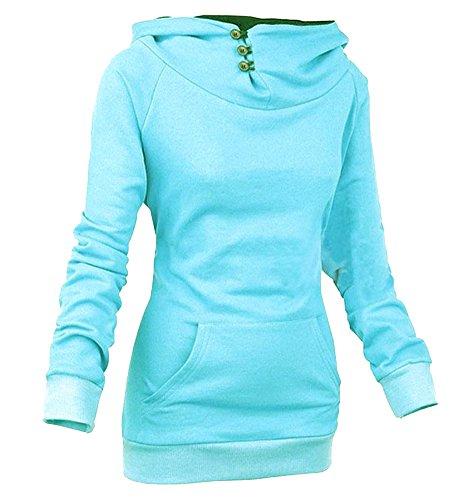 Molly Femme Pull A capuche Hoodie Manches Longues Sweatshirt Bleu