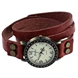 TOOGOO(R) Vintage Retro Dame Frauen um Quarz weben Wickelband Armbanduhr wickeln - rot
