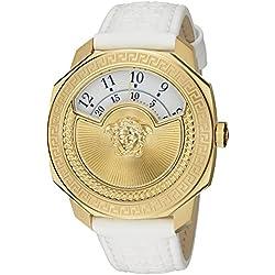 "Versace Damen 'dylos Icon ""Swiss Quarz Edelstahl und Weiß Leder Casual Armbanduhr (Modell: vqu010015)"