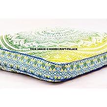 Indio Ombre Mandala cojín de suelo tamaño grande cuadrado hecho a mano Salón asiento Otomano funda de almohada sofá Indian Tapiz Manta Oversize exteriores por handicraftspalace