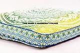 indischen Ombre Mandala groß Bodenkissen quadratisch handgefertigt Lounge Sessel Ottoman Kissenbezug Oversize tolle Bilder Sofa Indian Tapisserie Überwurf von handicraftspalace