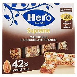 Hero Barrette ai Cereali Supreme Mandorle Cioccolato Bianco - Confezione da 4 x 24 gr - Totale: 96 gr 10 spesavip