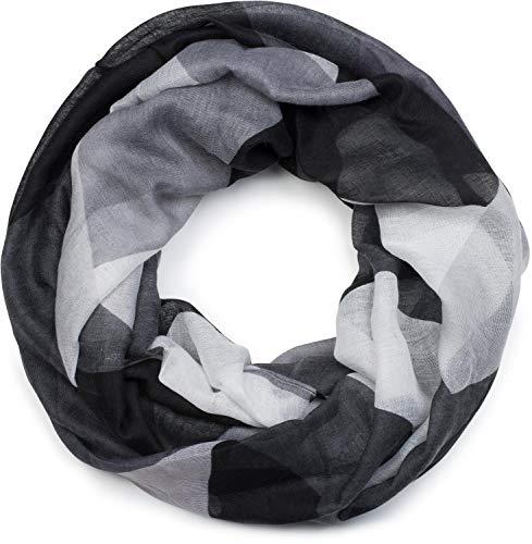styleBREAKER Damen Loop Schal mit geometrische Dreieck Zacken, Schlauchschal, Tuch 01017091, Farbe:Schwarz-Grau-Weiß