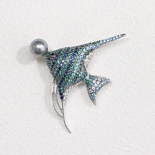 Olydmsky Blaue und grüne Tropische Fische Brosche Brosche PIN Unisex Stein -