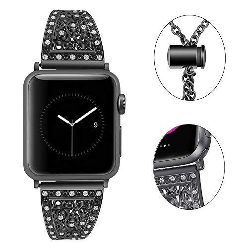 Myada Armband für Apple Watch 42mm 44mm,Armband Apple Watch Series 4 44mm Edelstahl Metall Mädchen iWatch 42mm Ersatzband Uhrenarmband iWatch Series 3 Armbänder Gliederarmband für Apple Watch 42/44mm