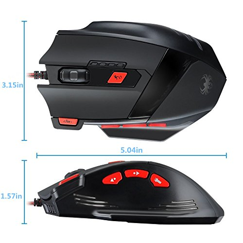 KingTop Gaming Maus für Pro Gamer 9200dpi mit 8 Tasten,LED,USB-Wired Maus optisch - 3