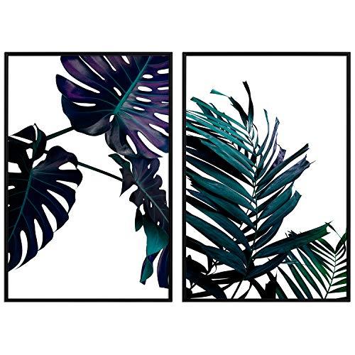 decomonkey   Poster 2er - Set mit schwarzem Rahmen schwarz-weiß Abstrakt Kunstdruck Wandbild Print Bilder Bilderrahmen Kunstposter Wandposter Posterset Monstera Blätter Tropen Palme