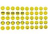 Magnete Smile, Emoji, Emoticon, 50 Stück im Set, 10 verschiedene Designs, Kühlschrankmagnete, witzige gute Laune Magnete, Durchmesser 2 cm
