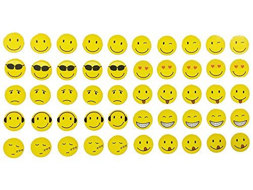 Magnete Smile, Emoji, Emoticon, 50 Stück im Set, 10 verschiedene Designs, Kühlschrankmagnete,...