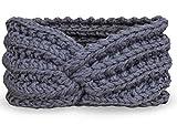 PiriModa Damen Strick Stirnband Ohrwärmer Winter Kopfband Haarband (Grau)