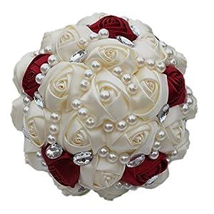 Fouriding – Ramo de novia resistente y personalizable hecho a mano – Rosas artificiales de seda de color marfil y rojo…