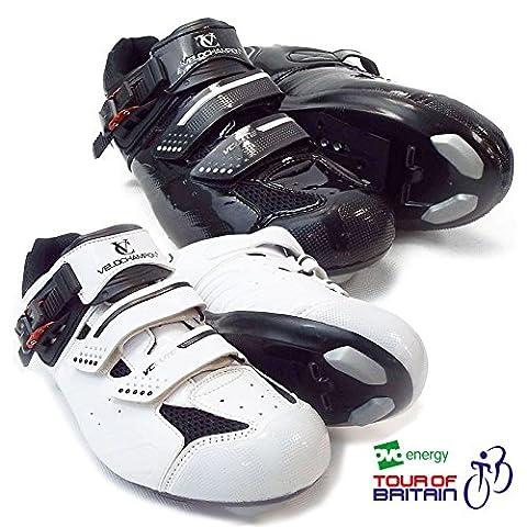 VeloChampion Elite Road Cycling Shoes (pair) White/Black 43