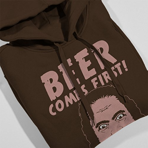 Beer Comes First Womens Hooded Sweatshirt Chocolat