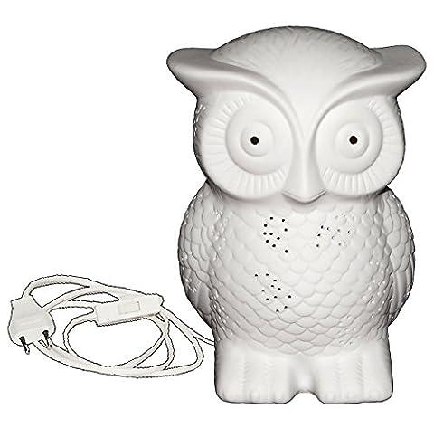 Tischlampe - Eule in weiß - aus Porzellan / Keramik - 19 cm hoch - Tischleuchte für Kinder Kinderzimmer - Baby Mädchen Jungen - Nachttischlampe Lampe Stehlampe - Porzellaneule - Leuchtkugel / Nachtlampe