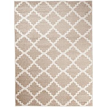 Grande Tapis De Salon Beige Blanc Motif Geometrique Treillis