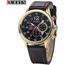 CURREN Men Popular Black Round Dial Fashion Leather Strap Wrist Watch 8179G