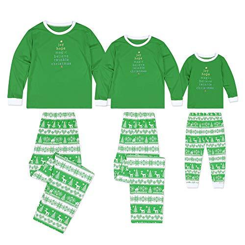 Familie Passende Weihnachten Pyjamas, Niedliche Weihnachtsbaum Muster Weihnachten Baumwolle Pyjamas Familie Passende Tops + Hosen Outfit Nachtwäsche Kids 110cm