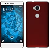 PhoneNatic Case kompatibel mit Huawei Honor 5X - Hülle rot gummiert Hard-case Cover
