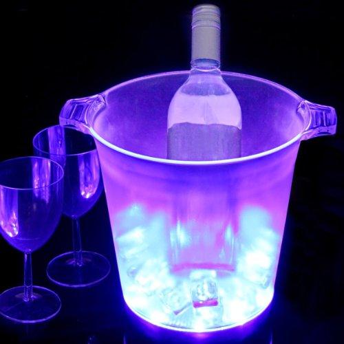 Cubo para hielos con luz LED (azul)