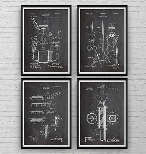 Barbers Patent Poster - Set Of 4 - Print Shaving Gift Fathers Dad Vintage Men Beard Hipster Moustache Barbershop Male Grooming Hairdresser Blueprint Wall Art Decor Restroom - Frame Not Included