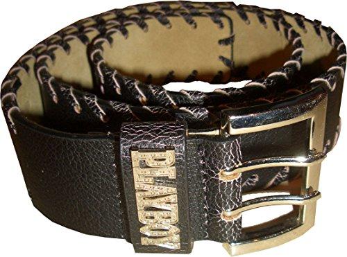 Playboy Gürtel. Belt. Leder. Schwarz. Unisex. Schnalle 6.5 x 4 cm. Länge 105 x 4.5 cm. Medium