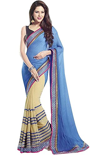 Kjp Villa Women\'s Georgette & Jaipuri Butti Blue Free Size embroidery Saree With Blouse Pics (zeel saree-207)