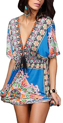 Femme Sexy d'été Bohème Robe Manches Chauve-souris Col en V Robe de Plage Glace Soie vintage Tunique D'été Lâche Taille Plus Bleu