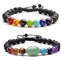 JOVIVI 2er Set, Chakra Reiki-Energietherapie Yoga Armreif Gebet Balance Perlen Armband Geflochtenes Lava-Armband... preisvergleich bei billige-tabletten.eu