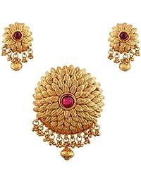 Terramart_ Antique Pendent Set - Jewellery For Women / Girls ( Pink & Gold )