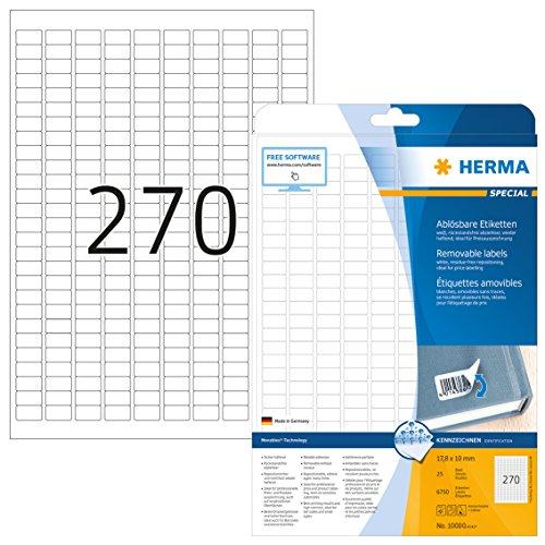 HERMA 10000 Universal Etiketten DIN A4 ablösbar (17,8 x 10 mm, 25 Blatt, Papier, matt) selbstklebend, bedruckbar, abziehbare und wieder haftende Adressaufkleber, 6.750 Klebeetiketten, weiß -