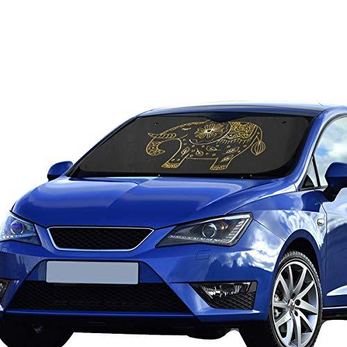 Sombrilla para el parabrisas del automóvil Suv Decorativo Elefante Adornos temáticos de la India Sombrilla plegable para máxima resistencia a la radiación ultravioleta y protección solar Mantenga su