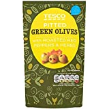 Tesco Green Pitted Olives With Roasted Red Peppers & Herbs 70g
