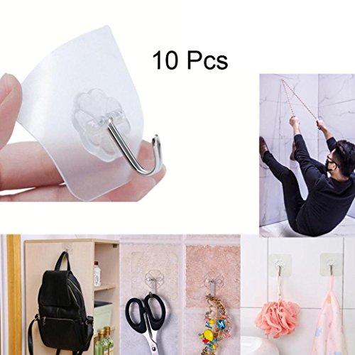 Sensail 10Pcs Crochet de Porte Cuisine Transparent Imperméable pour Salle de bain
