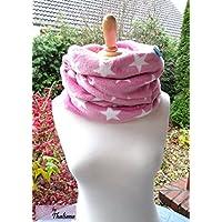 STARS rosa Loop mit Sternen Schal weiße Sterne rosa Loopschal