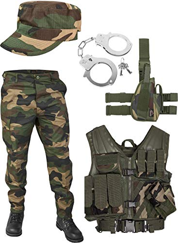 United States Marine Corps Kostüm Set bestehend aus Weste, Hose, Handschellen und Feldmütze Farbe Woodland Größe XL