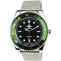 MICHAEL JOHN -Men's Watch Silver Quartz Black Green case Steel Analogue Display Band Steel