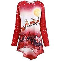 LILICAT☃ Navidad 3D Christmas Elk Snowflake Top Manga Larga para Mujer Cuello Sesgado Santa Claus Imprimir Tops Blusa Sudadera