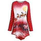 MIRRAY Damen Weihnachten Sweatshirt Schiefe Hals Weihnachtsmann Snowflake Gedruckt Asymmetrisch Tops Bluse Blau Rot Grün S/M/L/XL