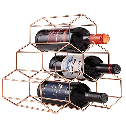 YUSDP 2er-Set Weinregal-Aufbewahrungshalter aus Metall, freistehend aus gebürstetem Gold mit geometrischem Design für Weinkeller-Barschränke Space Saver Protector 6 Flaschen
