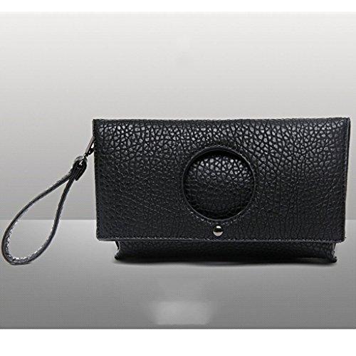 La nuova borsa della busta di frizione ad alta capacità piegato l'Europa e l'afflusso di mano femminile della borsa della borsa delle borse borsa ( Colore : Khaki ) Nero