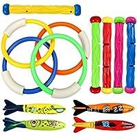 Juguete de Buceo Natación subacuática Natación Piscina Toy Anillos 3 Piezas Babosas de Alga Marina 4 Piezas Toypedo Bandidos y 6 Piezas Bajo Tesoro de Agua Juego de Regalo Paquete (Estilo Clásico)