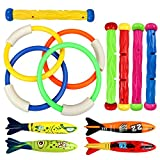 Tacobear Piscina de buceo bajo el agua anillos de juguete 4 piezas, palos de buceo 5 piezas y bandidos Torpedo 4 piezas juegos de juegos de agua regalo de entrenamiento para niños niñas
