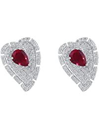 shazé Silver Brass Ruby Earrings for Women