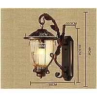 GZ Muebles para el hogar Luz de Pared Retro Luz Americana rústica al Aire Libre Impermeable de una Sola Cabeza Habitación de Hierro Lámpara de Pared Balcón ...