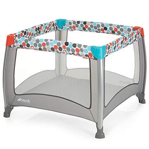 Fisher-Price Laufgitter Play N Relax SQ - faltbarer Laufstall 90x90 cm für sicheres Spielen | auch als Reisebett nutzbar, inklusive Tragetasche - Grau Bunt