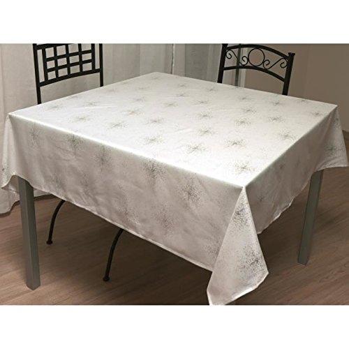 Soleil d'Ocre 814696 Strass Nappe Carrée Polyester Blanc 180 x 180 cm